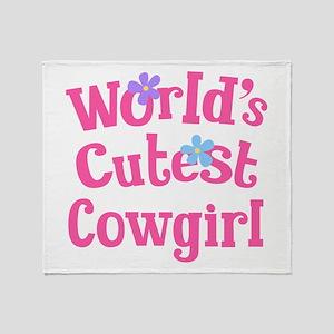 Worlds Cutest Cowgirl Throw Blanket