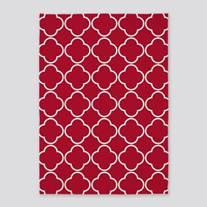 Dark Berry Red Quatrefoil Clover Pattern 5'x7'Area