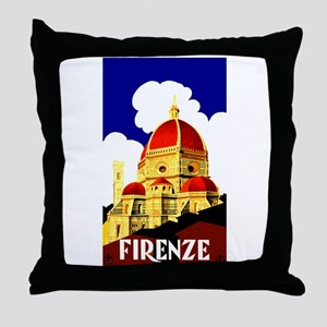 Vintage Florence Italy Travel Throw Pillow