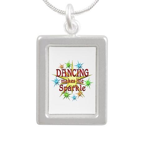 Dancing Sparkles Silver Portrait Necklace