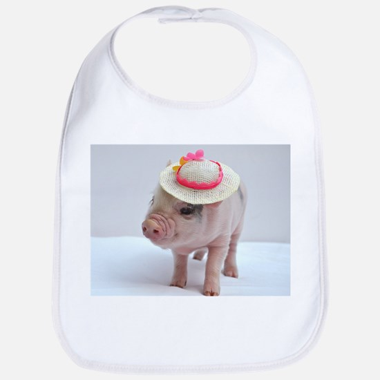 Micro pig wearing Summer hat Bib