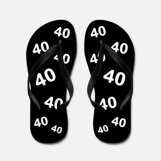 Black 40th Birthday Gag Gift Flip Flops