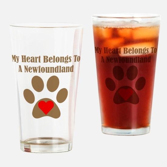 My Heart Belongs To A Newfoundland Drinking Glass