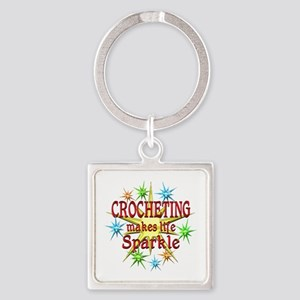 Crocheting Sparkles Square Keychain