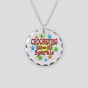 Crocheting Sparkles Necklace Circle Charm