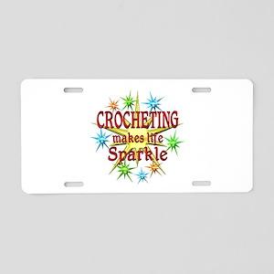 Crocheting Sparkles Aluminum License Plate