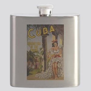 Vintage Cuba Tropics Travel Flask