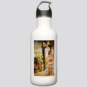 Vintage Cuba Tropics Travel Water Bottle