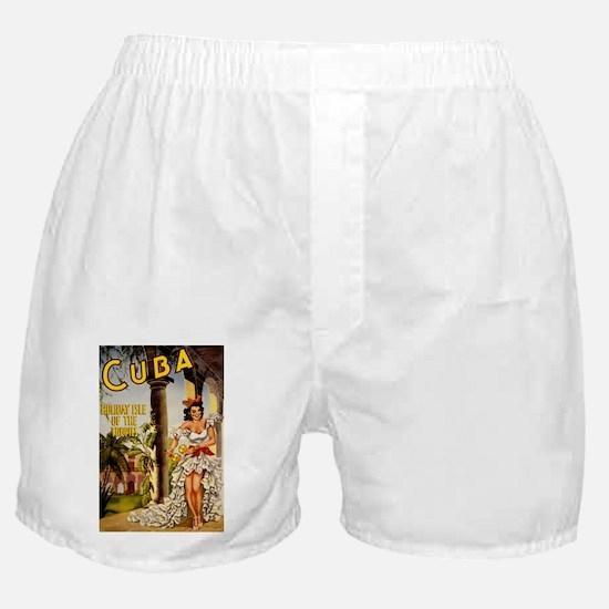 Vintage Cuba Tropics Travel Boxer Shorts