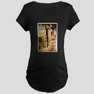 Vintage Cuba Tropics Travel Maternity T-Shirt