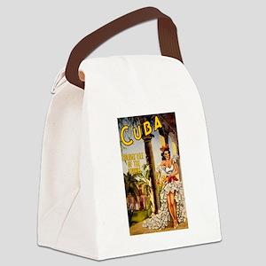 Vintage Cuba Tropics Travel Canvas Lunch Bag