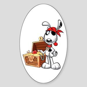 The Nauti Dog Pirate Oval Sticker