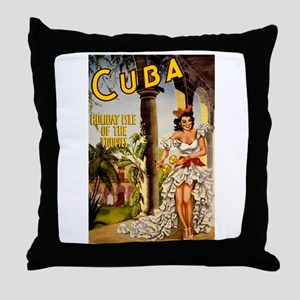 Vintage Cuba Tropics Travel Throw Pillow