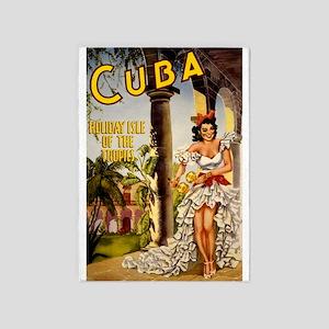 Vintage Cuba Tropics Travel 5'x7'Area Rug