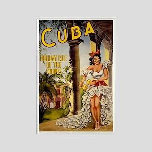 Vintage Cuba Tropics Travel Rectangle Magnet