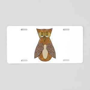Brown Textured Owl Aluminum License Plate