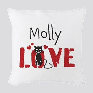 Personalize Kitty Love Woven Throw Pillow