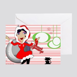 Retro Holly Girl Greeting Cards (Pk of 10)