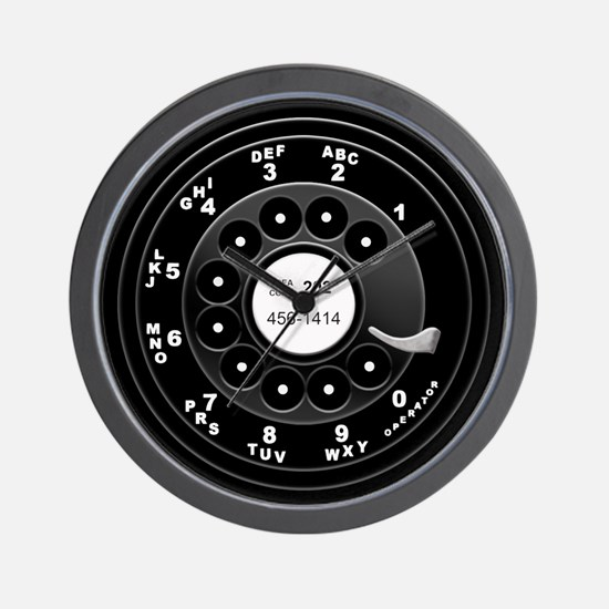Rotary Faux -bw Wall Clock