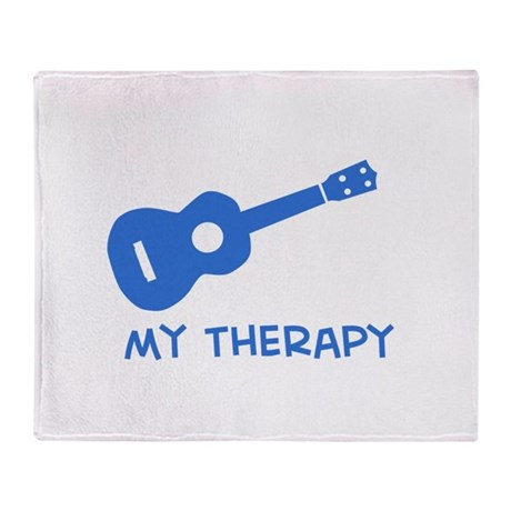 Ukelele my therapy Throw Blanket