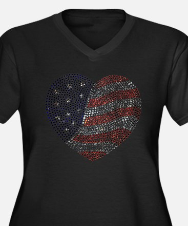 Jeweled American Heart Plus Size T-Shirt