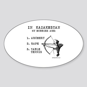 Kazakhstan Hobbies Oval Sticker