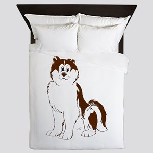 Red Alaskan Malamute cartoon Queen Duvet