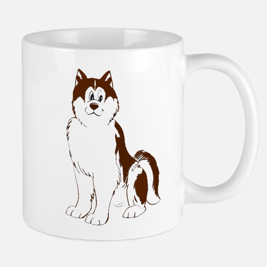 Red Alaskan Malamute cartoon Mug