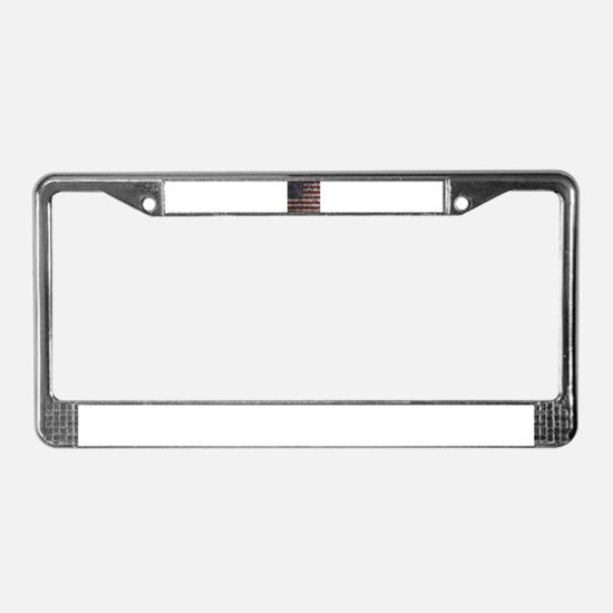 Cave Wall American Flag License Plate Frame