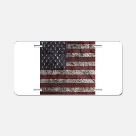 Cave Wall American Flag Aluminum License Plate