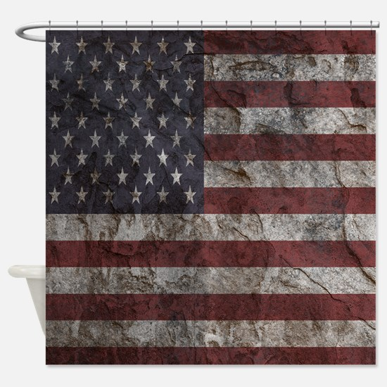 Cave Wall American Flag Shower Curtain
