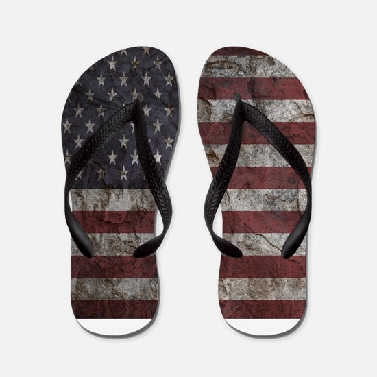Cave Wall American Flag Flip Flops
