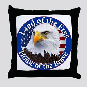 Land Of The Free Home Of The Brave Eagle Throw Pil