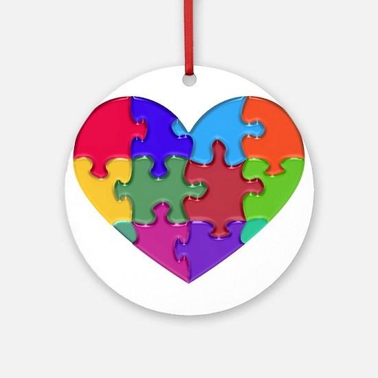 Autism Heart Puzzle Ornament (Round)