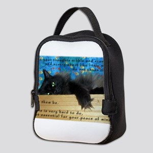 Nibbling Thoughts Black Cat Neoprene Lunch Bag