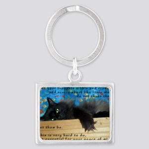 Nibbling Thoughts Black Cat Landscape Keychain