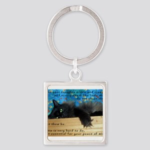 Nibbling Thoughts Black Cat Square Keychain
