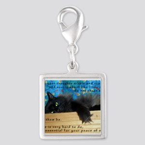 Nibbling Thoughts Black Cat Silver Square Charm