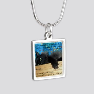 Nibbling Thoughts Black Cat Silver Square Necklace
