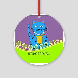 retired principal cat 2 Ornament (Round)