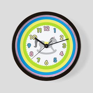 Pastel Rocking Horse Nursery Wall Clock