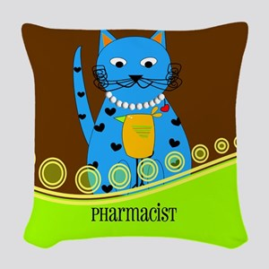 Pharmacist cat 2 Woven Throw Pillow