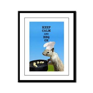 Keep Calm and BBQ On Squirrel Framed Panel Print