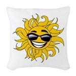 Smiley Face Sun Woven Throw Pillow
