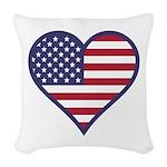 American Flag Heart Woven Throw Pillow
