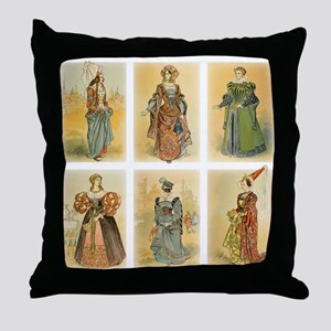 Vintage Paris Fashion (Middle ages) Throw Pillow