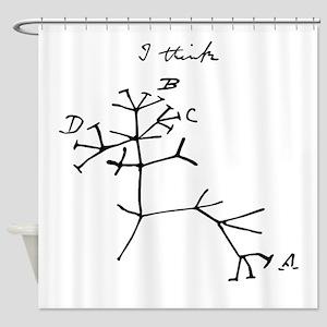 Darwin Tree of Life Black Shower Curtain