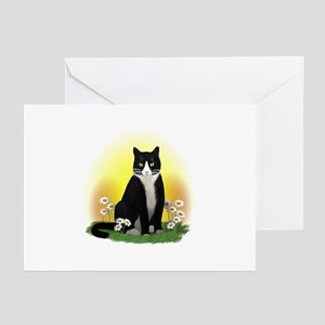 Tuxedo Cat with Daisies Greeting Cards (Pk of 20)