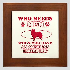 Funny American Eskimo Dog lover designs Framed Til