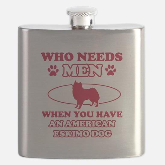 Funny American Eskimo Dog lover designs Flask